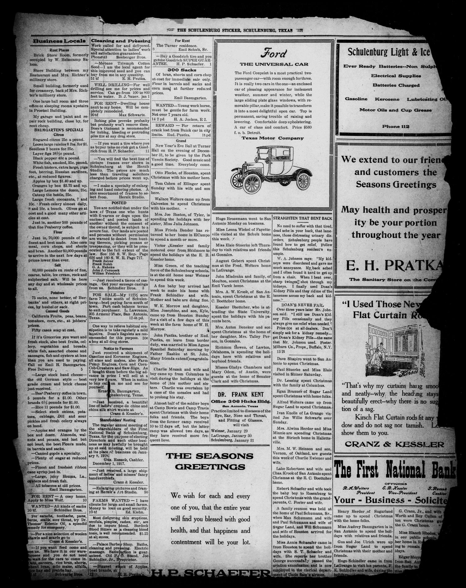 The Schulenburg Sticker (Schulenburg, Tex.), Vol. 23, No. 15, Ed. 1 Friday, January 5, 1917                                                                                                      [Sequence #]: 3 of 4