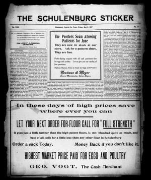 Primary view of object titled 'The Schulenburg Sticker (Schulenburg, Tex.), Vol. 23, No. 33, Ed. 1 Friday, May 11, 1917'.