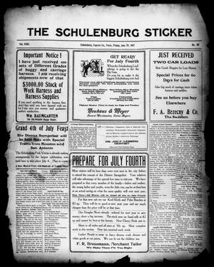 Primary view of object titled 'The Schulenburg Sticker (Schulenburg, Tex.), Vol. 23, No. 40, Ed. 1 Friday, June 29, 1917'.
