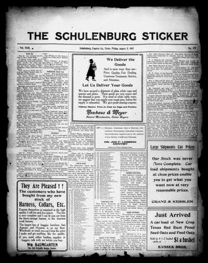 Primary view of object titled 'The Schulenburg Sticker (Schulenburg, Tex.), Vol. 23, No. 45, Ed. 1 Friday, August 3, 1917'.