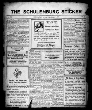 Primary view of object titled 'The Schulenburg Sticker (Schulenburg, Tex.), Vol. 23, No. 50, Ed. 1 Friday, September 7, 1917'.