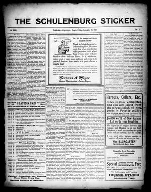 Primary view of object titled 'The Schulenburg Sticker (Schulenburg, Tex.), Vol. 23, No. 52, Ed. 1 Friday, September 21, 1917'.