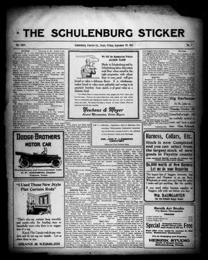 Primary view of object titled 'The Schulenburg Sticker (Schulenburg, Tex.), Vol. 24, No. 1, Ed. 1 Friday, September 28, 1917'.