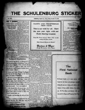 Primary view of object titled 'The Schulenburg Sticker (Schulenburg, Tex.), Vol. 24, No. 14, Ed. 1 Friday, December 28, 1917'.