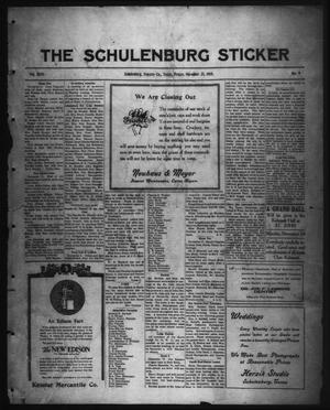 Primary view of object titled 'The Schulenburg Sticker (Schulenburg, Tex.), Vol. 26, No. 9, Ed. 1 Friday, November 21, 1919'.