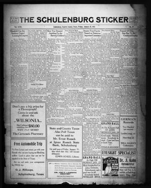 Primary view of object titled 'The Schulenburg Sticker (Schulenburg, Tex.), Vol. 27, No. 18, Ed. 1 Friday, January 21, 1921'.