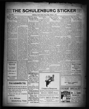 Primary view of object titled 'The Schulenburg Sticker (Schulenburg, Tex.), Vol. 27, No. 20, Ed. 1 Friday, February 4, 1921'.