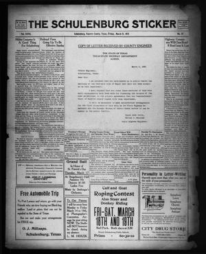 Primary view of object titled 'The Schulenburg Sticker (Schulenburg, Tex.), Vol. 27, No. 25, Ed. 1 Friday, March 11, 1921'.