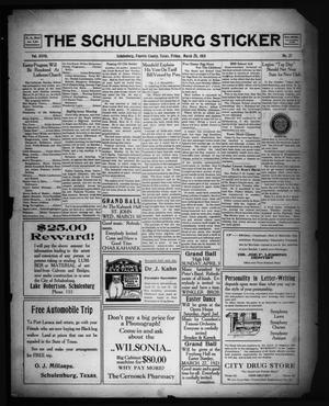 Primary view of object titled 'The Schulenburg Sticker (Schulenburg, Tex.), Vol. 27, No. 27, Ed. 1 Friday, March 25, 1921'.