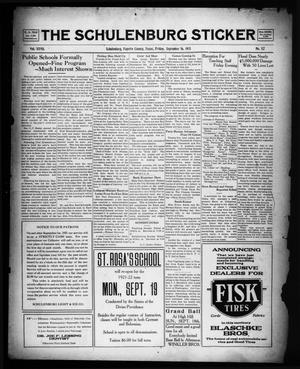 The Schulenburg Sticker (Schulenburg, Tex.), Vol. 27, No. 52, Ed. 1 Friday, September 16, 1921