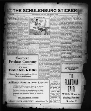 Primary view of object titled 'The Schulenburg Sticker (Schulenburg, Tex.), Vol. 28, No. 2, Ed. 1 Friday, September 30, 1921'.