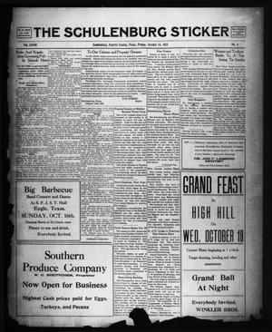Primary view of object titled 'The Schulenburg Sticker (Schulenburg, Tex.), Vol. 28, No. 4, Ed. 1 Friday, October 14, 1921'.
