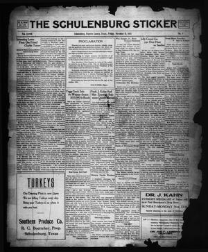 Primary view of object titled 'The Schulenburg Sticker (Schulenburg, Tex.), Vol. 28, No. 9, Ed. 1 Friday, November 11, 1921'.