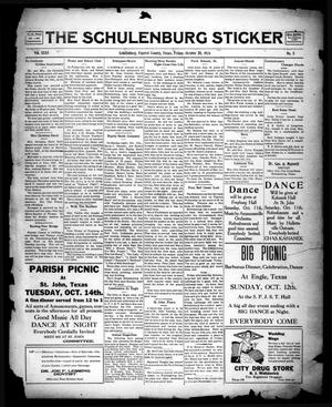 Primary view of object titled 'The Schulenburg Sticker (Schulenburg, Tex.), Vol. 31, No. 5, Ed. 1 Friday, October 10, 1924'.