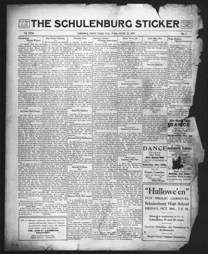 Primary view of object titled 'The Schulenburg Sticker (Schulenburg, Tex.), Vol. 32, No. 7, Ed. 1 Friday, October 23, 1925'.