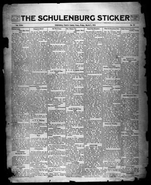 Primary view of object titled 'The Schulenburg Sticker (Schulenburg, Tex.), Vol. 32, No. 26, Ed. 1 Friday, March 5, 1926'.