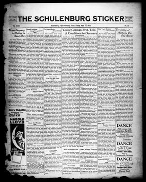 Primary view of object titled 'The Schulenburg Sticker (Schulenburg, Tex.), Vol. 32, No. 33, Ed. 1 Friday, April 23, 1926'.