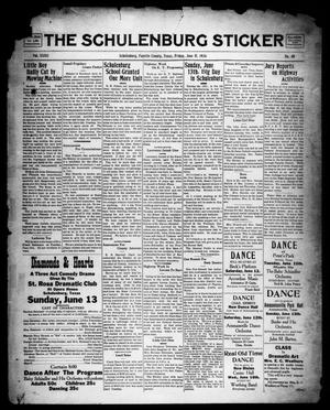 Primary view of object titled 'The Schulenburg Sticker (Schulenburg, Tex.), Vol. 32, No. 40, Ed. 1 Friday, June 11, 1926'.