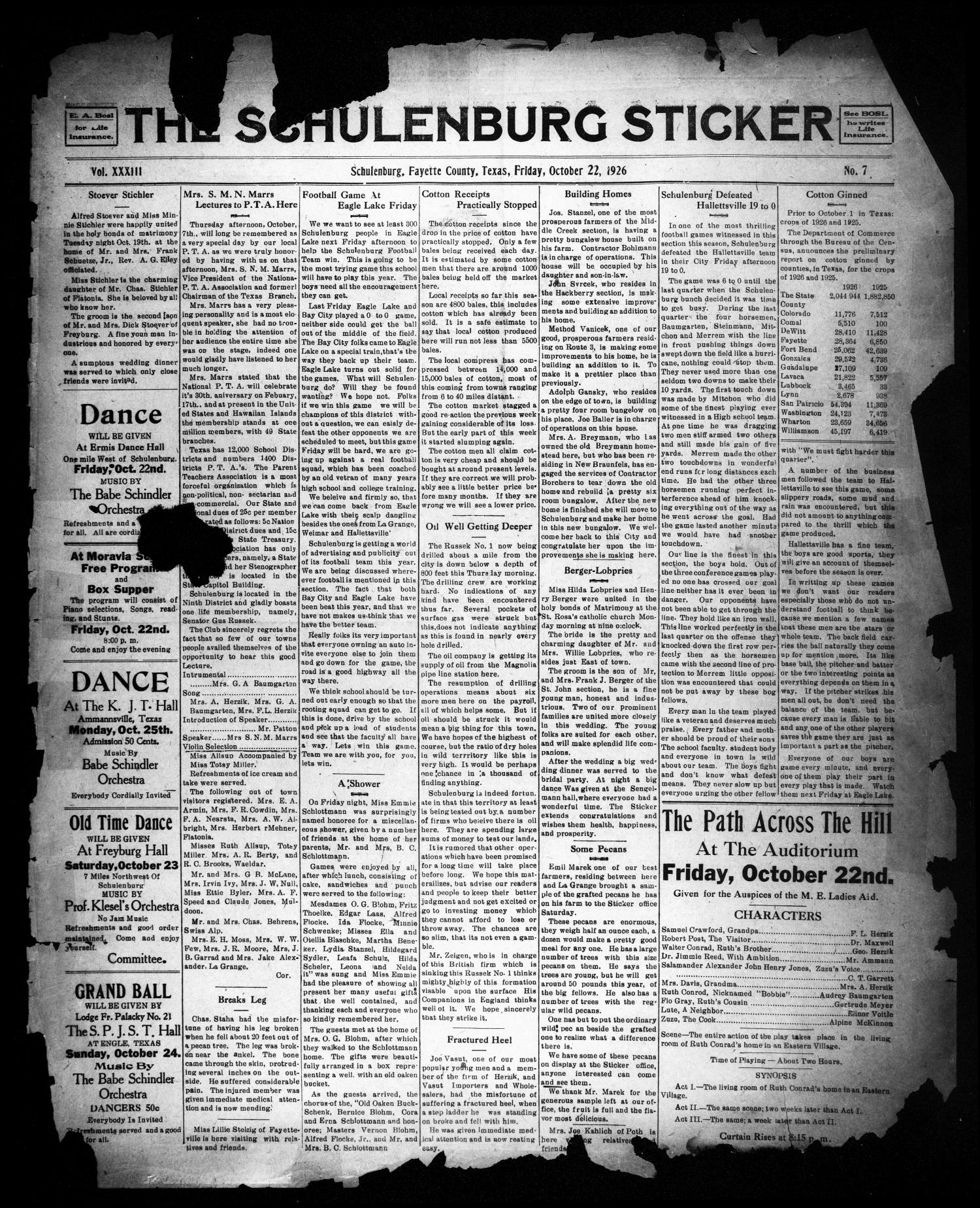 The Schulenburg Sticker (Schulenburg, Tex.), Vol. 33, No. 7, Ed. 1 Friday, October 22, 1926                                                                                                      [Sequence #]: 1 of 8