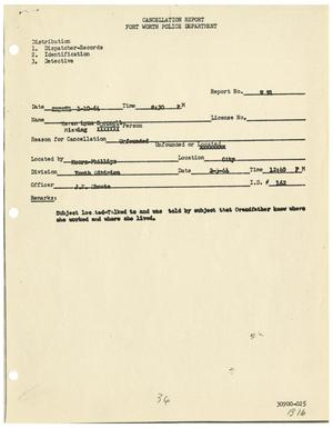 [Cancellation Report for Karen Lynn Bennett, January 10, 1964]