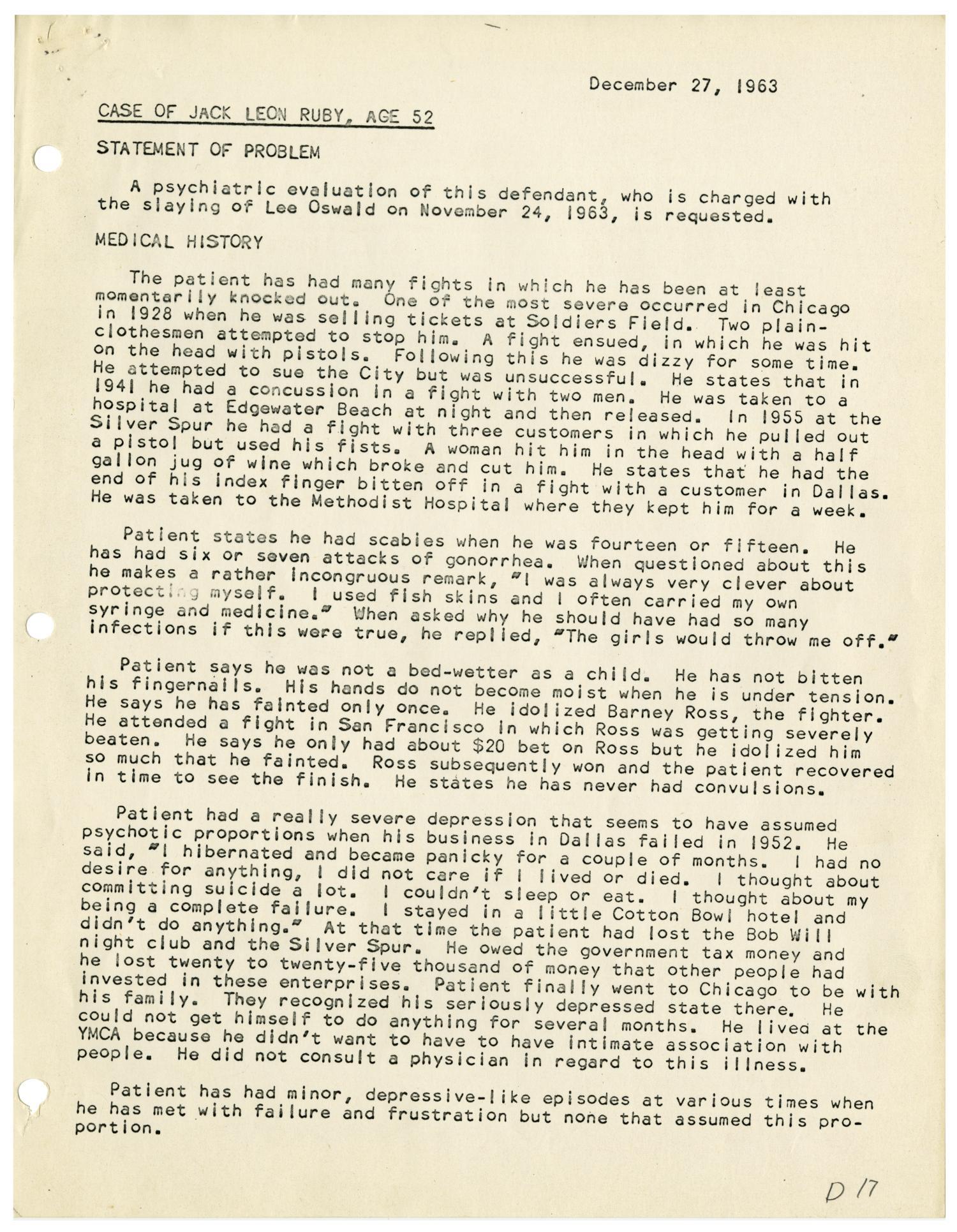 Psychiatric Evaluation of Jack Ruby - December 17, 1963