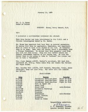 Primary view of object titled '[Report from Captain W. P. Gannaway to Chief of Police J. E. Curry - January 15, 1964]'.