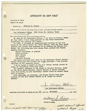 Primary view of object titled '[Affidavit by Joe Rodriquez Molina, November 23, 1963]'.