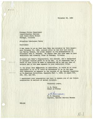 Primary view of object titled '[Letter from J. E. Curry and W. P. Gannaway to Chicago Police - November 25, 1963]'.