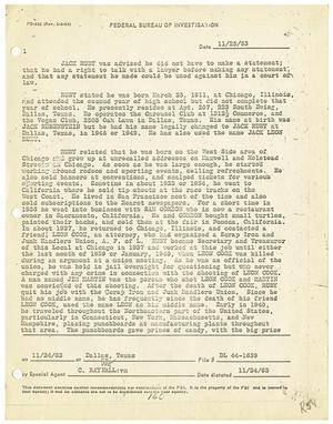 Primary view of object titled '[F.B.I. Report: Statements Made by Jack Ruby, November 25, 1963]'.