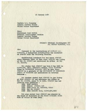 Primary view of object titled '[Criminal Intelligence Report to Captain W. P. Gannaway, January 13, 1964]'.