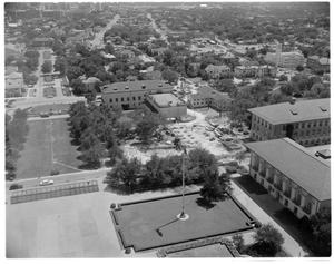 Primary view of object titled '[An aerial view of construction at the University of Texas]'.