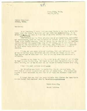 Primary view of object titled '[Anti-Catholic Letter, Noveber 22, 1963]'.