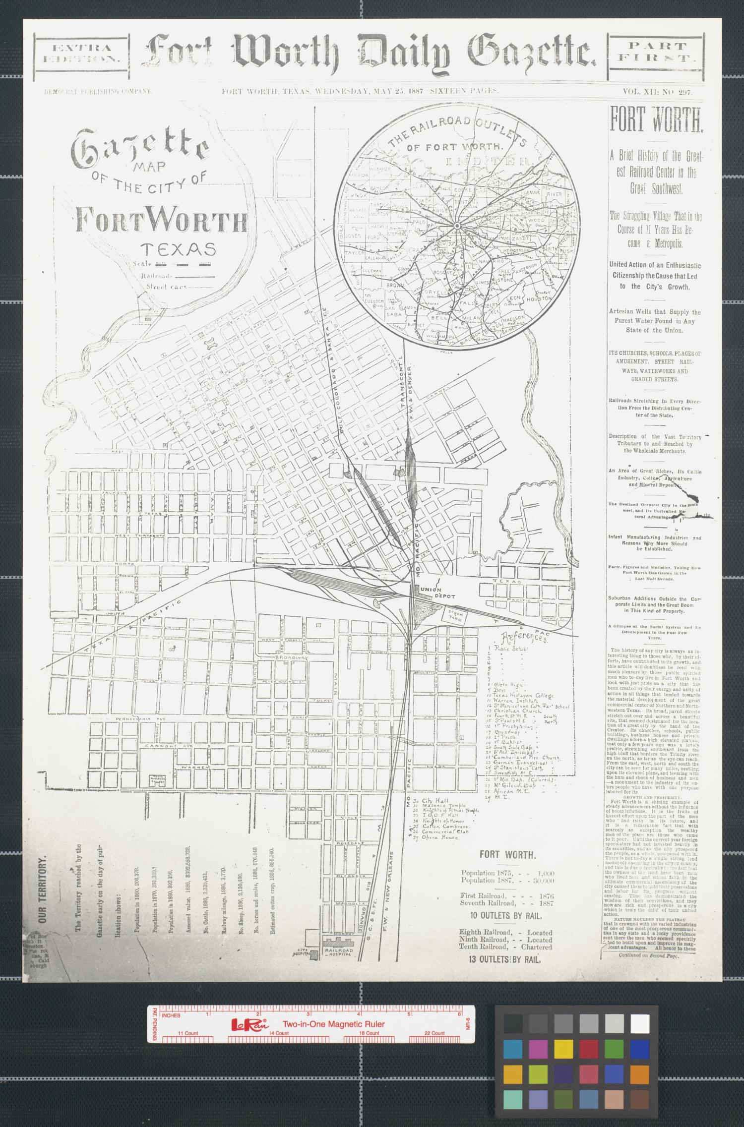 Gazette map of the city of Fort Worth, Texas.                                                                                                      [Sequence #]: 1 of 2