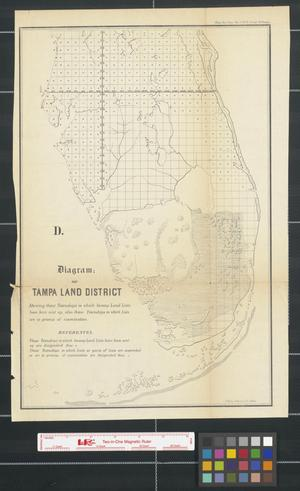 Primary view of object titled 'Diagram: of Tampa Land District: shewing those townships in which swamp land lists have been sent up, also those townships in which lists are in process of examination [Sheet 1].'.