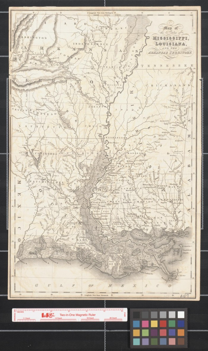 Map Of The States Of Mississippi Louisiana And The Arkansas