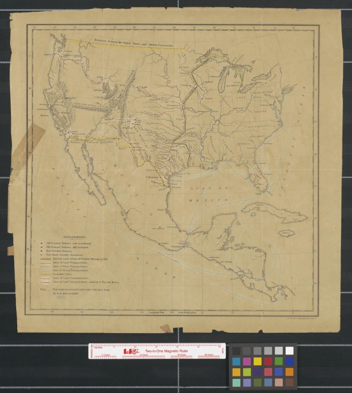 Map of the United States, Mexico, and Central America showing the ...