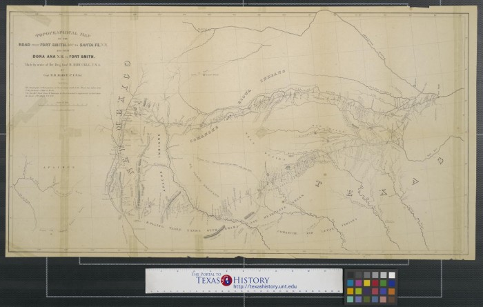 Topographical map of the road from Fort Smith Arks to Santa Fe