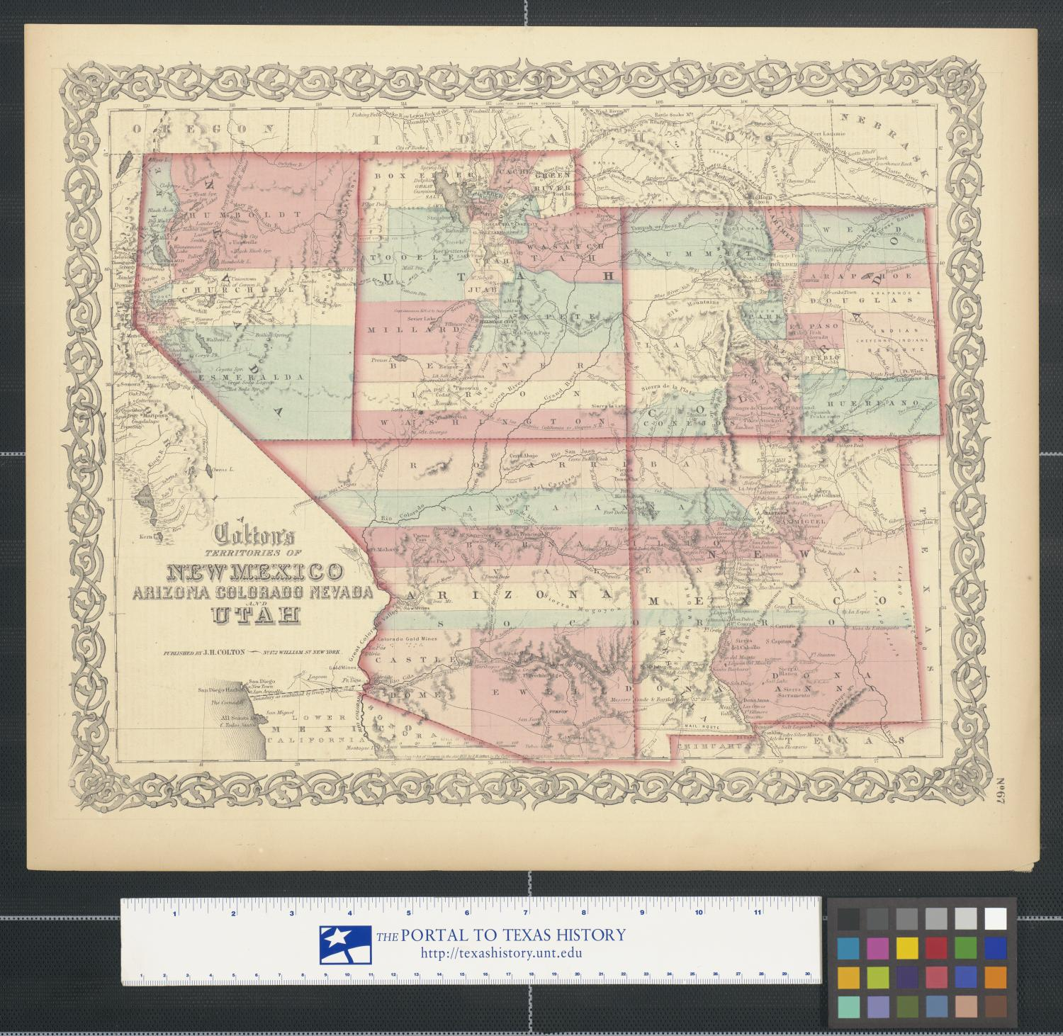 Map Of Texas New Mexico And Colorado.Colton S Territories Of New Mexico Arizona Colorado Nevada And