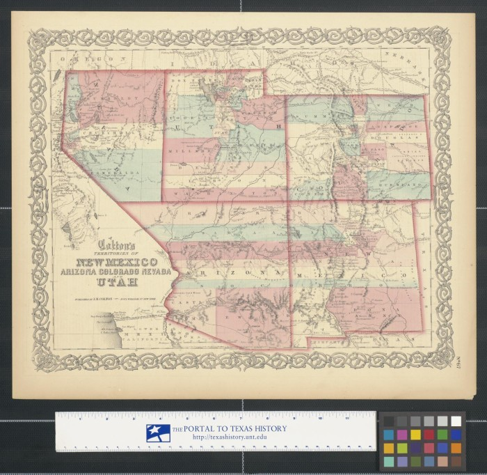 Map Of Arizona Utah And Colorado.Colton S Territories Of New Mexico Arizona Colorado Nevada And