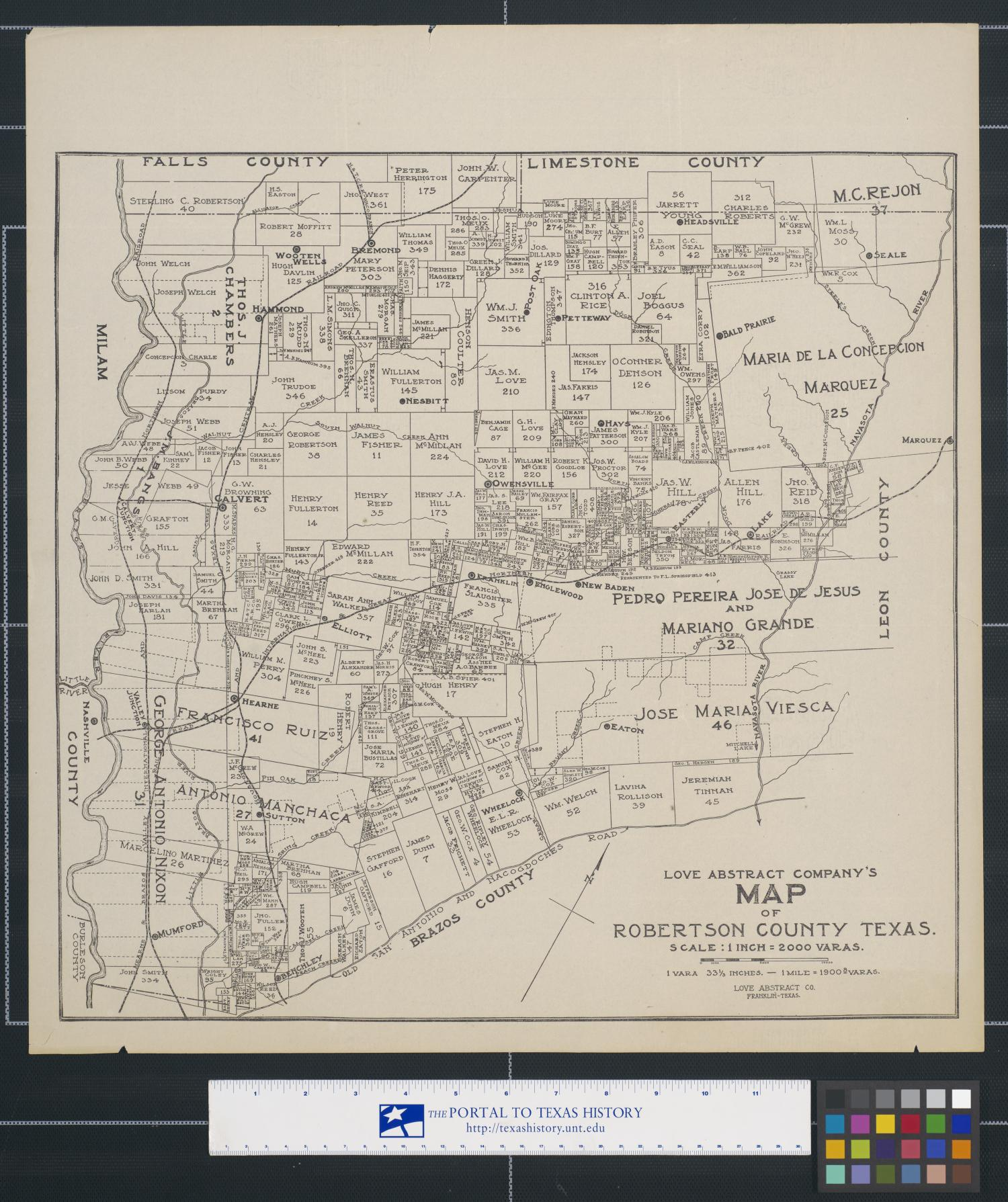Love Abstract Company's map of Robertson County Texas.                                                                                                      [Sequence #]: 1 of 2