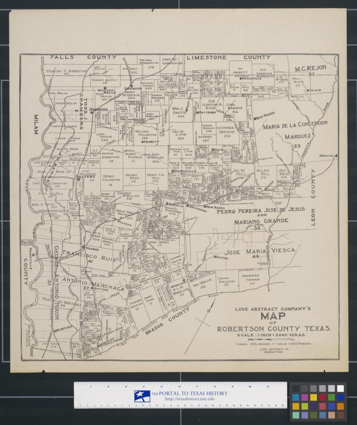Map Of Texas In 1800.Love Abstract Company S Map Of Robertson County Texas The Portal
