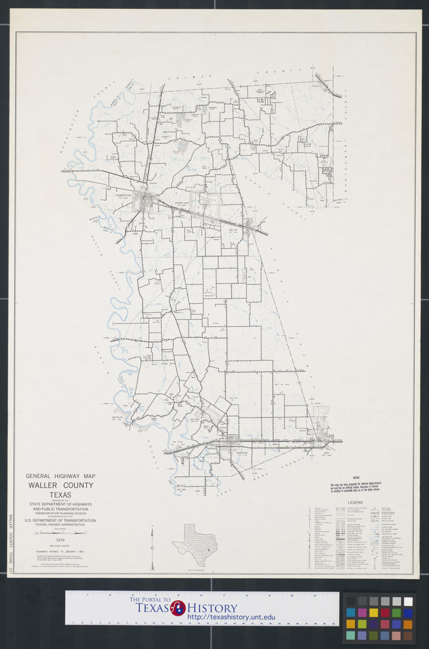 General Highway Map Waller County Texas The Portal To Texas History - Waller tx map us