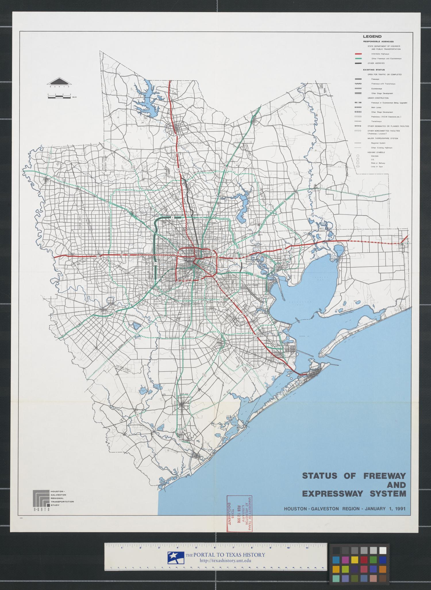 Status of freeway and expressway system : Houston-Galveston Region, January 1, 1991.                                                                                                      [Sequence #]: 1 of 2