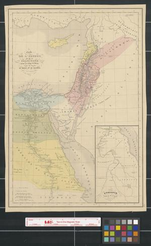 Carte de l'Egypte et de la Palestine jusqu'au temps de Moïse., Map of Egypt and Palestine up to the time of Moses.
