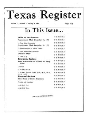 Primary view of object titled 'Texas Register, Volume 17, Number 1, Pages 1-76, January 3, 1992'.