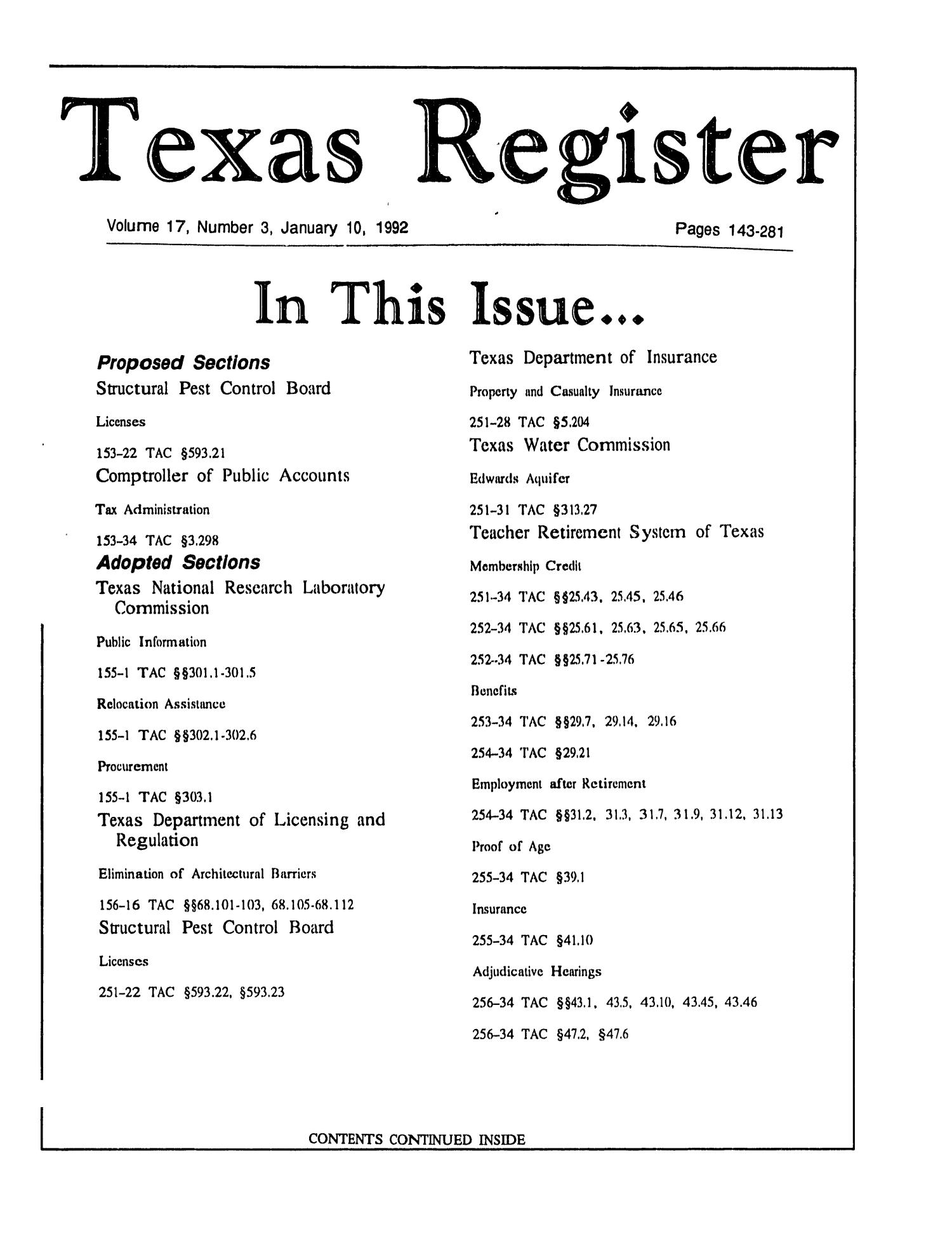 Texas Register, Volume 17, Number 3, Pages 143-281, January 10, 1992                                                                                                      Title Page