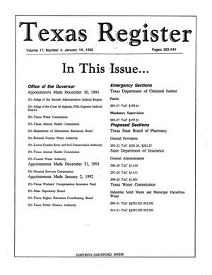 Primary view of object titled 'Texas Register, Volume 17, Number 4, Pages 283-344, January 14, 1992'.