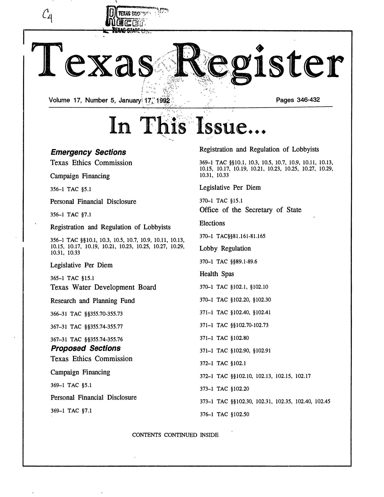 Texas Register, Volume 17, Number 5, Pages 346-432, January 17, 1992                                                                                                      Title Page