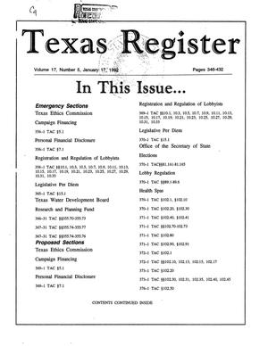 Primary view of object titled 'Texas Register, Volume 17, Number 5, Pages 346-432, January 17, 1992'.