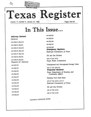 Primary view of object titled 'Texas Register, Volume 17, Number 6, Pages 433-491, January 21, 1992'.